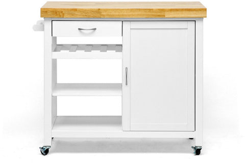 Wholesale Interiors RT185-OCC Denver White Modern Kitchen Cart with Butcher Block Top - Each - Peazz Furniture