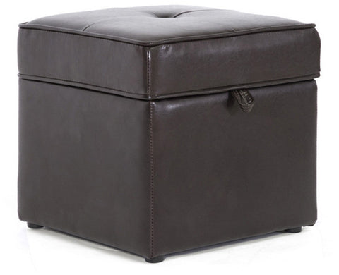 Wholesale Interiors XB-01-dark brown Sydney Brown Modern Ottoman - Storage Ottoman - Each - Peazz Furniture