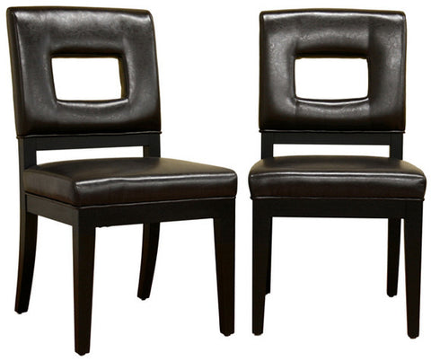 Wholesale Interiors Y-765-001-1 Faustino Dark Brown Leather Dining Chair - Set of 2 - Peazz Furniture