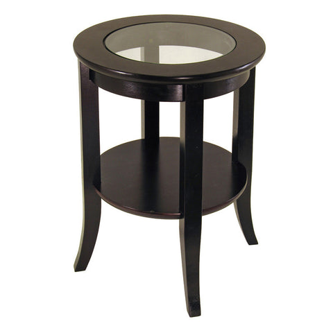 Winsome Wood 92218 Genoa End Table, Glass Inset, one shelf - Peazz Furniture