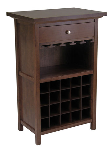 Winsome Wood 94441 Wine Cabinet with Drawer and Glass Rack - Peazz Furniture