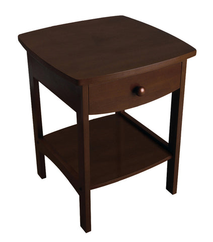 Winsome Wood 94918 Curved End table/Night Stand with one drawer - Peazz Furniture