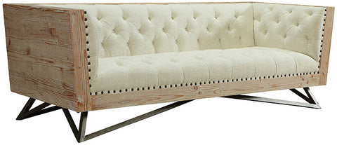 Armen Living LCRE3CR Regis Cream Sofa With Pine Frame And Gunmetal Legs - Peazz Furniture