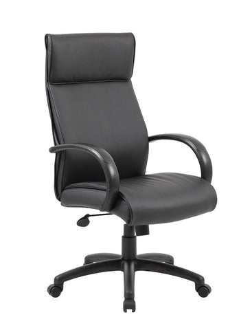 Boss Office Products B7711-BK Boss High Back Executive Chair / Black Finish / Black Upholstery - Peazz Furniture