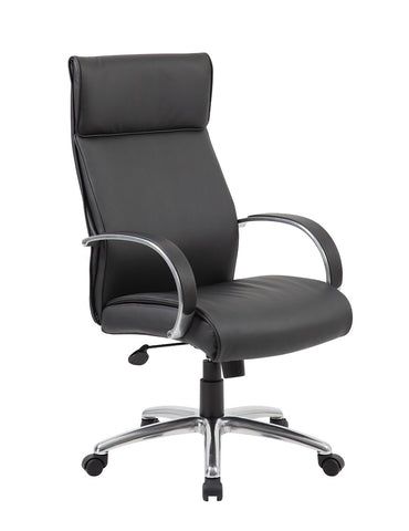 Boss Office Products B7711A-BK Boss High Back Executive Chair / Aluminum Finish / Black Upholstery - Peazz Furniture