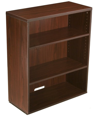 Boss Office Products N153-M Boss Open Hutch/Bookcase- Mahogany - Peazz Furniture