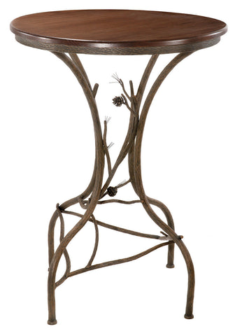 "Stone County Ironworks 904-086-OXB Pine Bar Table 40""(natural bark) w/ 30"" top - Peazz Furniture"