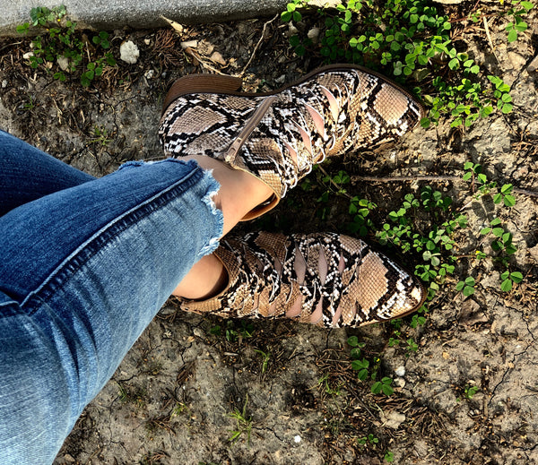 Iconic Snake Print Booties