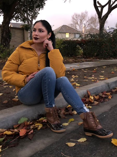 Cozy Up Puffer Jacket -Mustard