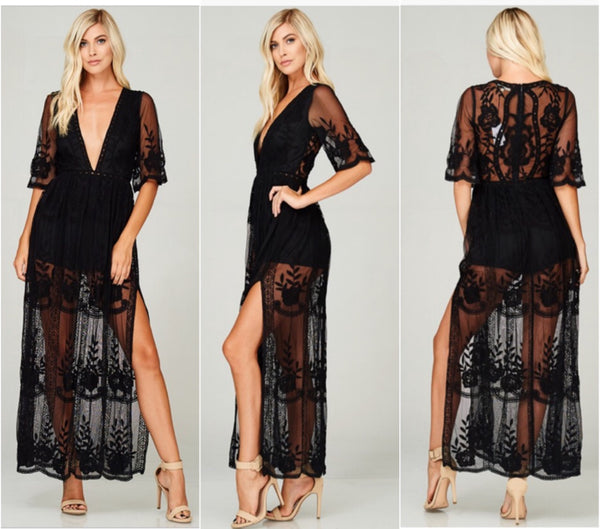 All-Inclusive Maxi Romper -Black