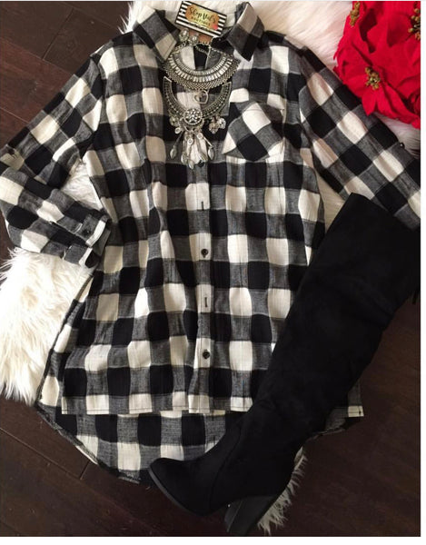 Long Flannel Shirt Dress