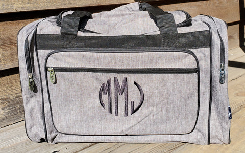 Gray Stone Wash Duffel Bag - Personalized/Monogrammed