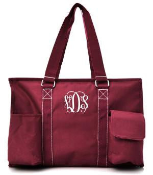 Small UtilityTote/Tote Bag - Burgundy - Personalized/Monogrammed