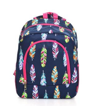Feather Backpack/Bookbag - Navy and Pink - Canvas - Personalized/Monogrammed