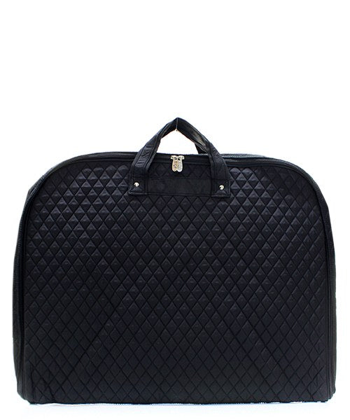 Quilted Garment Bag - Black - Personalized/Monogrammed