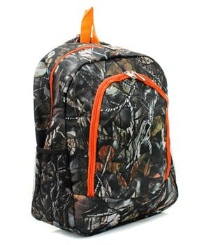 Camo/Camouflage Backpack/Bookbag with Orange Trim - Personalized/Monogrammed