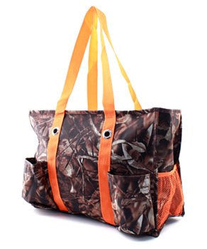 Camo/Camouflage Small UtilityTote/Tote Bag with Orange Handles - Personalized/Monogrammed
