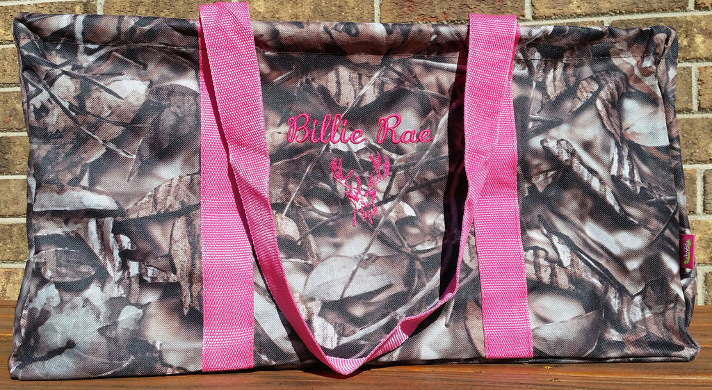 Camo/Camouflage Large Utility Tote/Tote Bag - Camo and Pink Handles - Personalized/Monogrammed