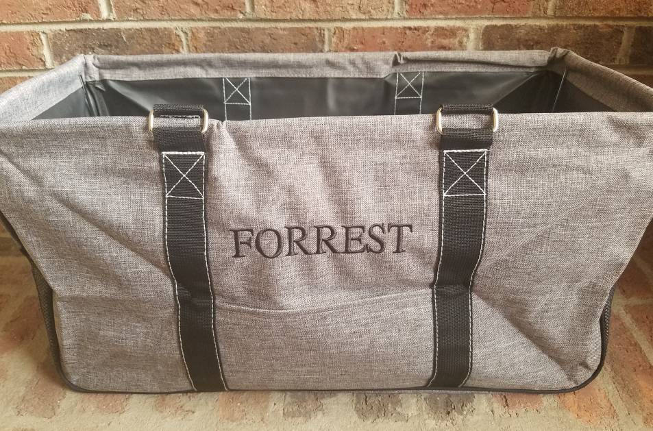 Gray Stone Wash Large Utility Tote/Tote Bag - Personalized/Monogrammed