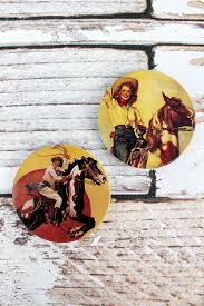 Vintage Cowgirl and Horse - Car Coaster Set of 2