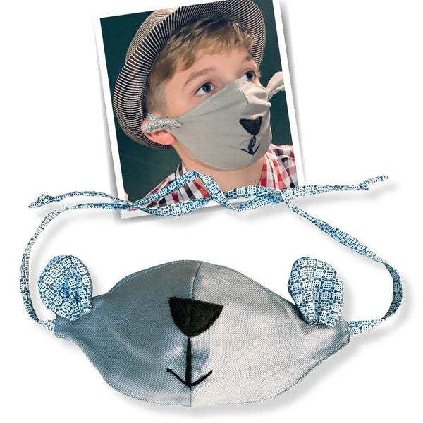 kiddies face masks - blue/grey