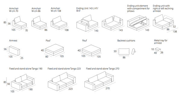 Modular elements for corner sofa
