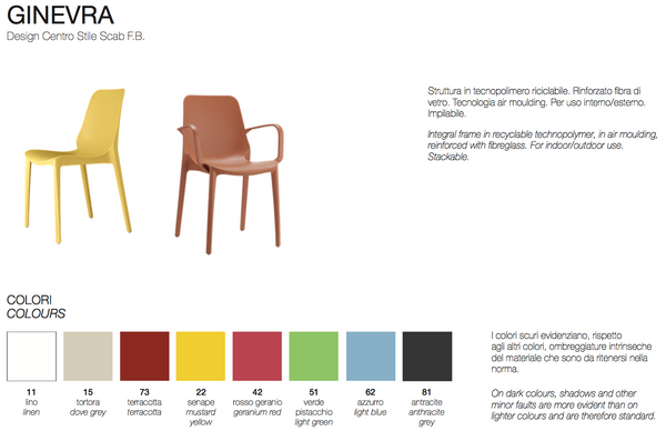 Chair sizes and colors