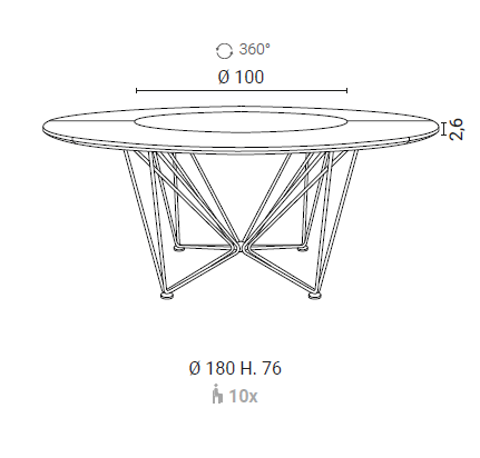 Grant table by Ozzio Italia