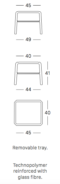 Vela side table sizes