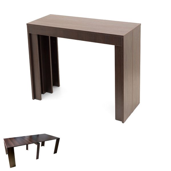 ERIC90 W980 ST2 Platinum White melamine transforming console table H75cm W90 D40.5cm to L220 cm [PROMO]