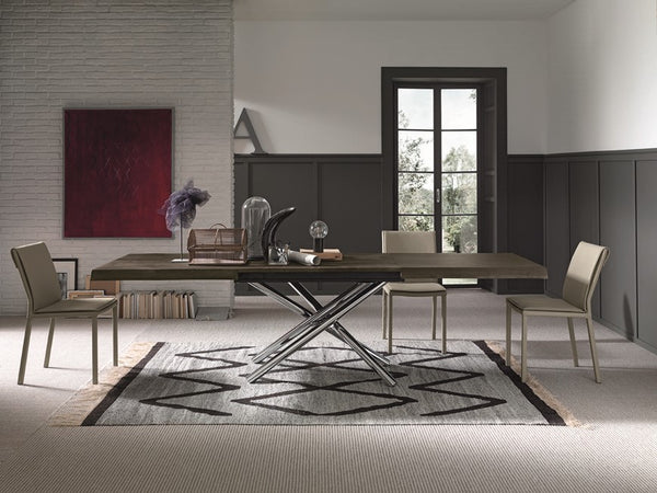 Fahrenheit fixed or extendible dining table with metal frame by Altacom Italia