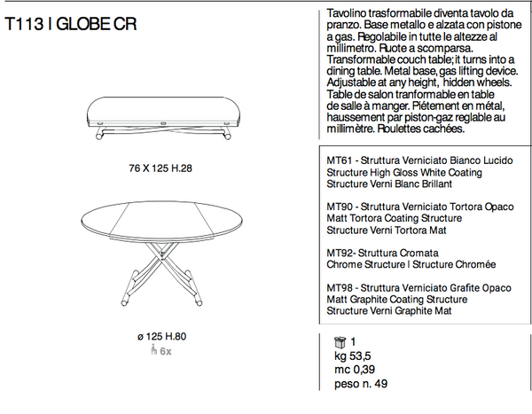 GLOBE CR (Glass top) round collapsable table, Ozzio Italia