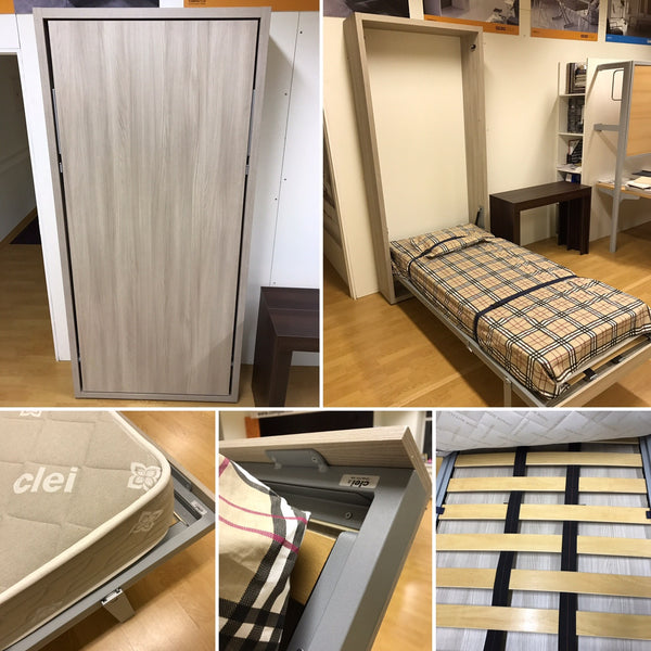 Telemaco 90 melamine oak sabia with smart springs mattress