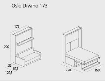 OSLO Divano 173 wall bed for 154 x 202 x 18 cm mattress