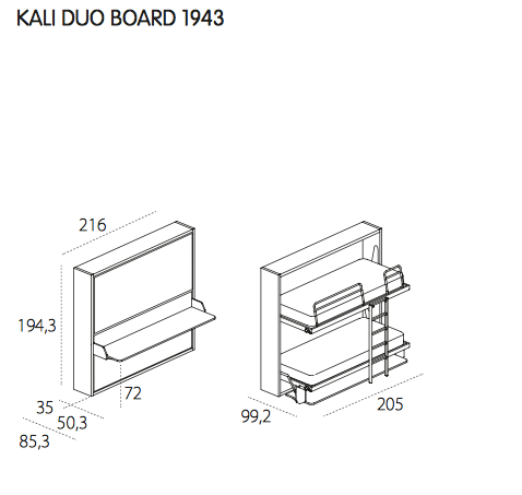 Kali Duo Board bunkbed, Clei, Italy
