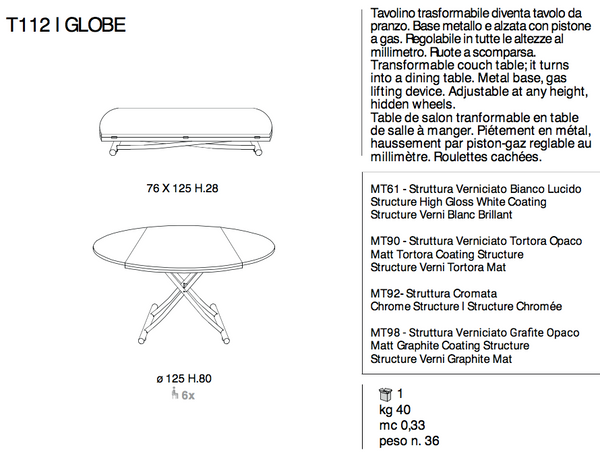 GLOBE round collapsable table by Ozzio Italia