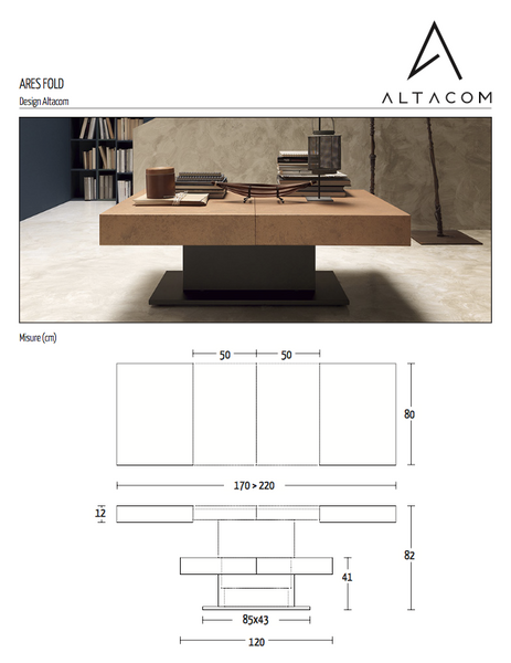 Ares Fold coffee and dining table by Altacom Italia