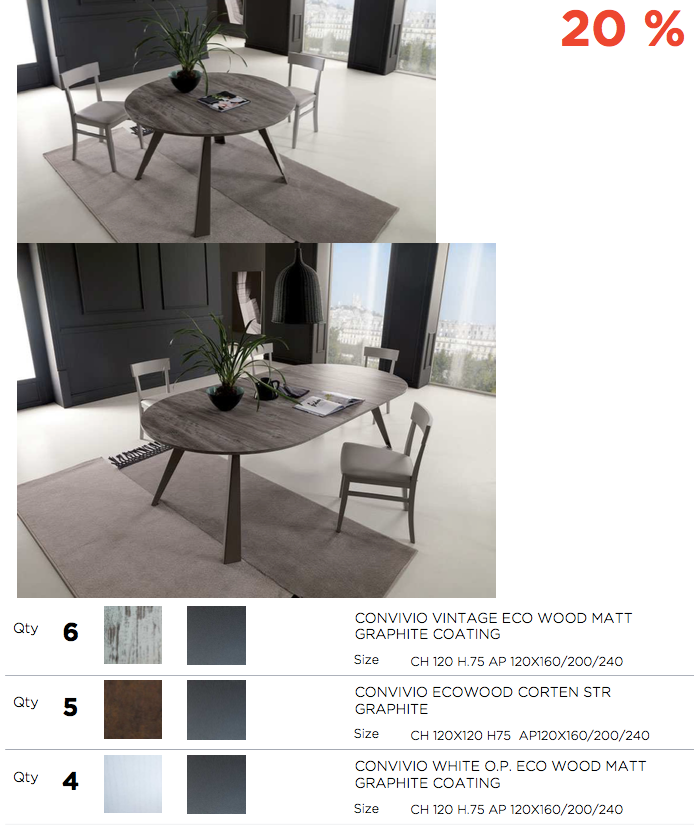 *OUTLET* EASY-LINE, Italy transformable tables and chairs [EN]