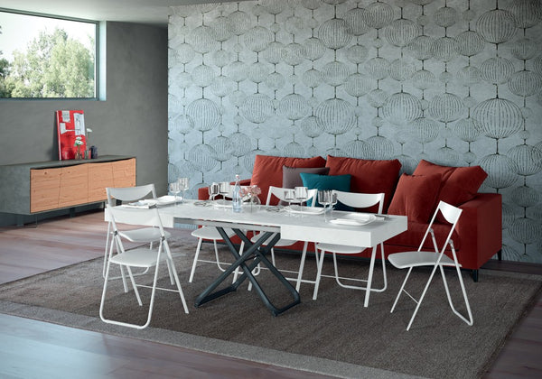 COUPE' metal base transformable table with extendable top by Easy-Line.it [EN]