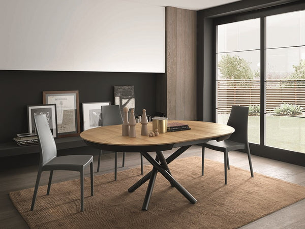 Fahrenheit round extendible dining table with metal frame by Altacom Italia