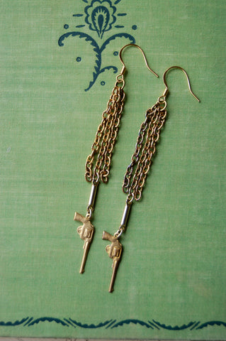 Brass Charm Revolver Earrings