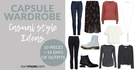 Capsule Wardrobe Casual Outfit Ideas - 10 Items = 24 Outfits