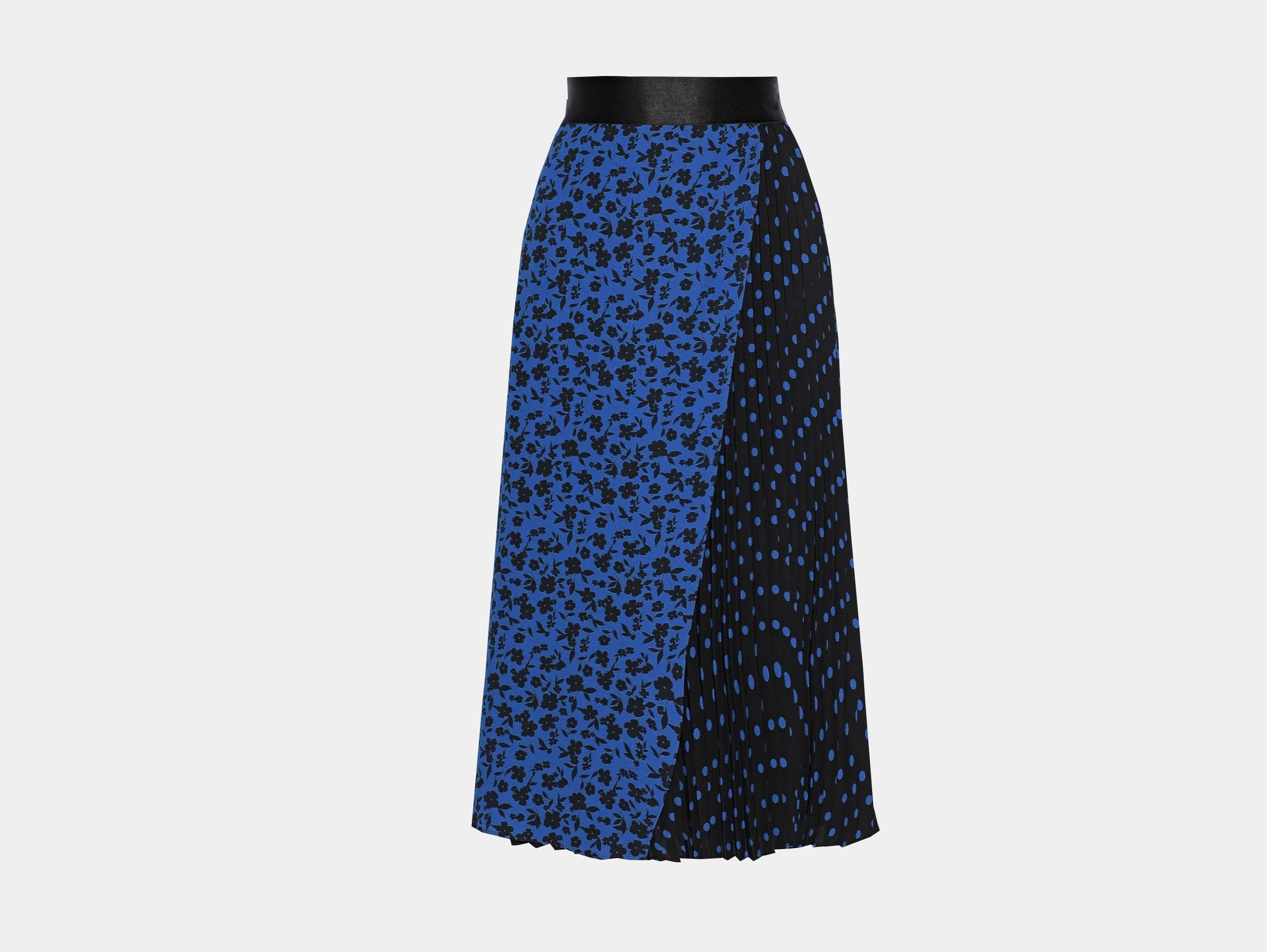ALICE + OLIVIA - Lilia printed pleated crepe blue black floral polka dots midi skirt