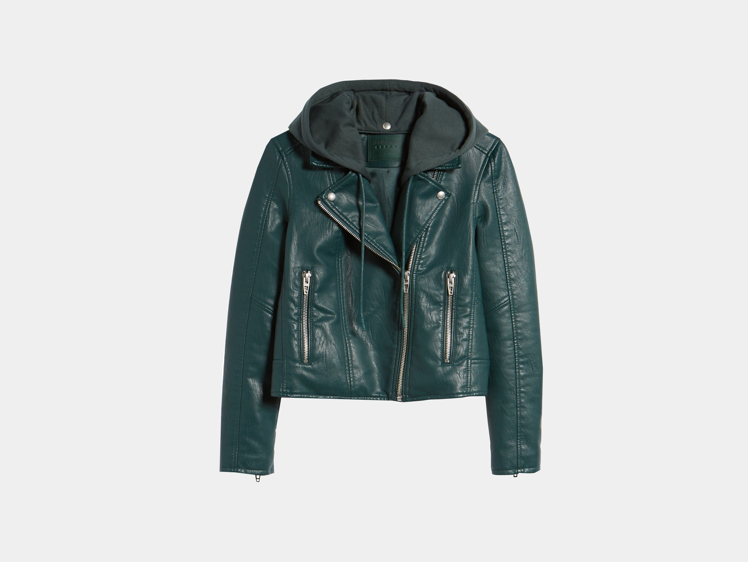 BLANKNYC vegan faux leather blue green alternative biker jacket