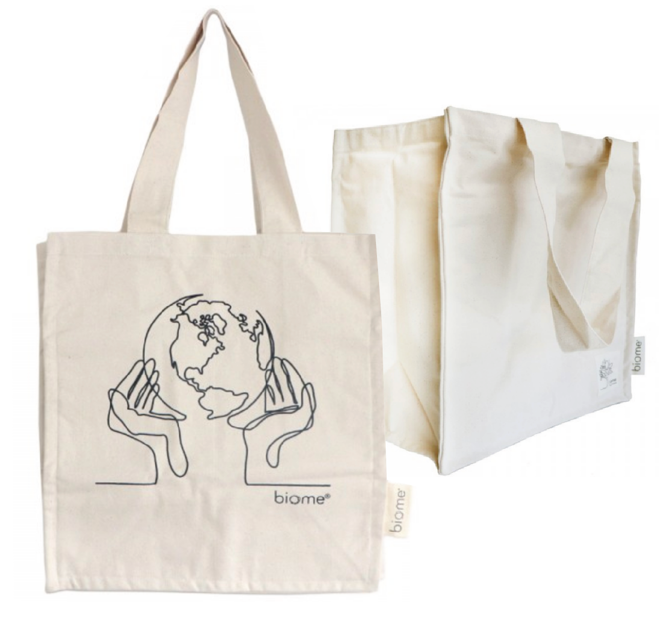 Biome - Organic cotton canvas tote bag - 'World in Our Hands'