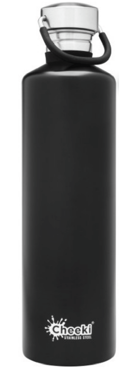 Cheeki 1L Stainless Steel Water Bottle - Matte Black