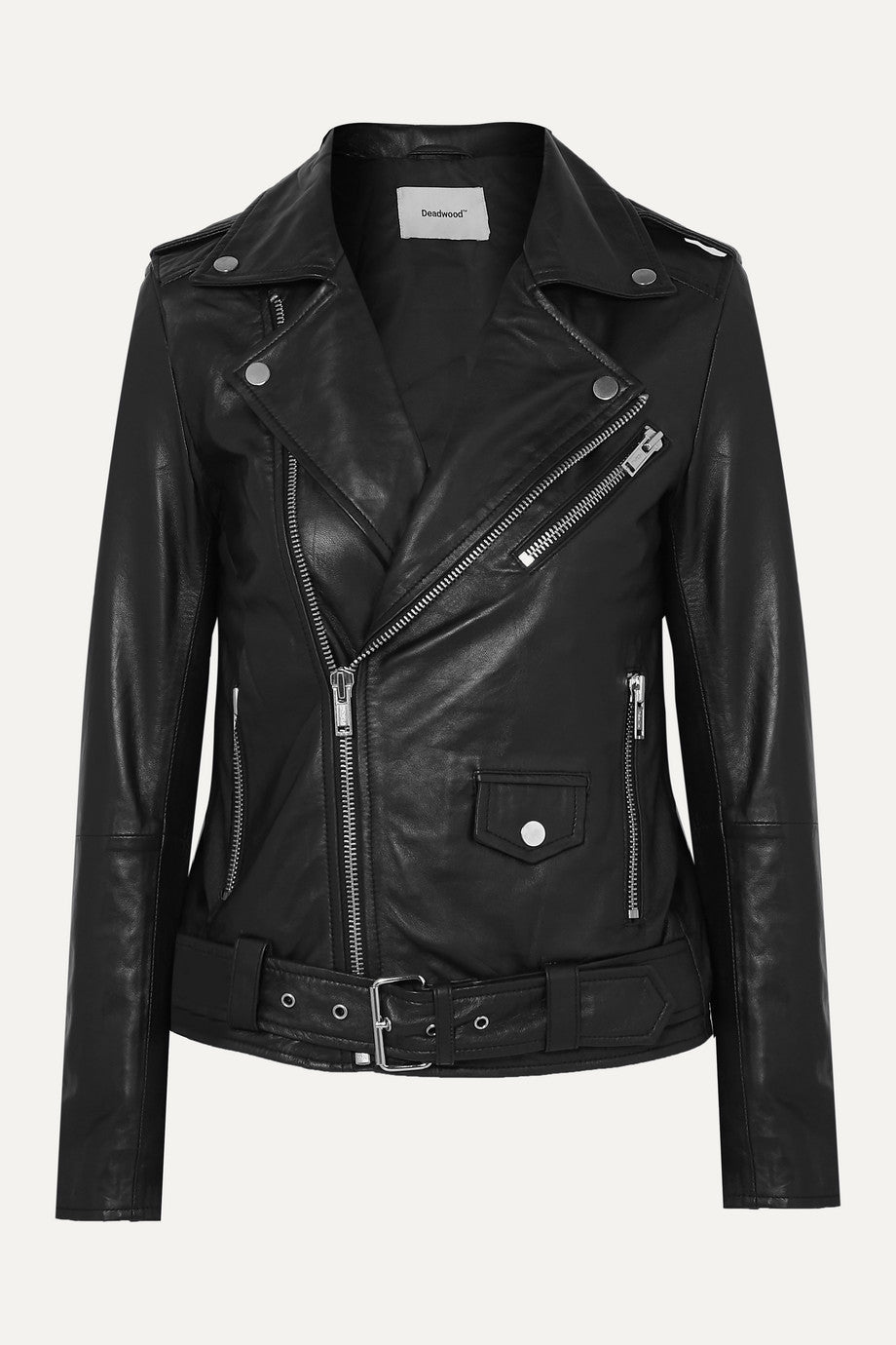 Deadwood + Net Sustain Classic Biker Leather Jacket