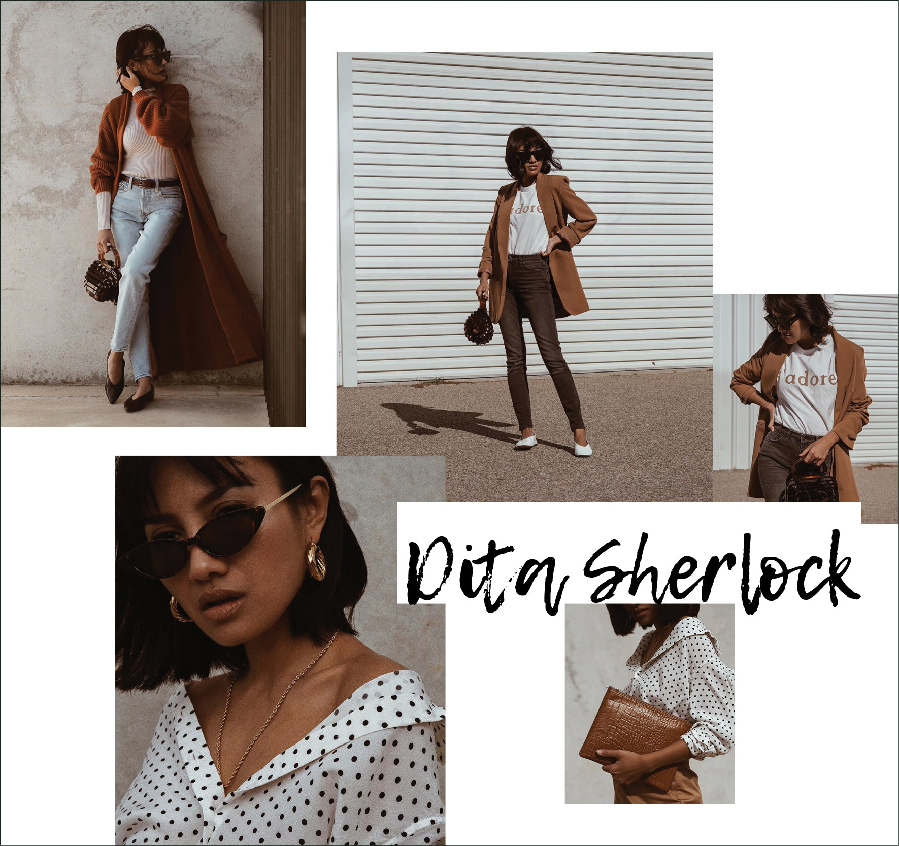 Dita Sherlock instagram images collage design as style icon muse featured on ownmuse.com