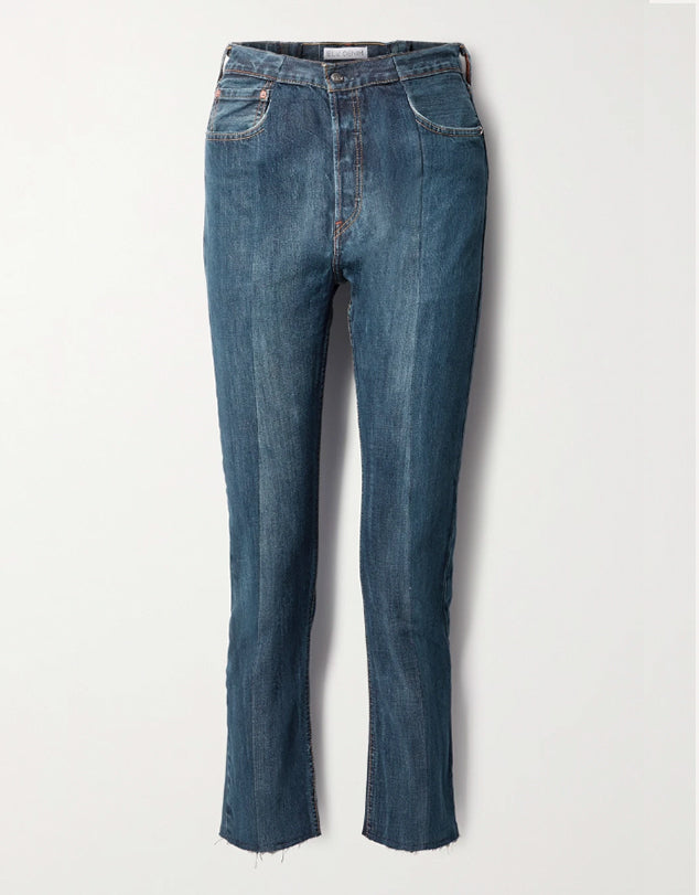 E.L.V. Denim - 'The Twin' Frayed Two-tone High-rise Straight-leg Jeans
