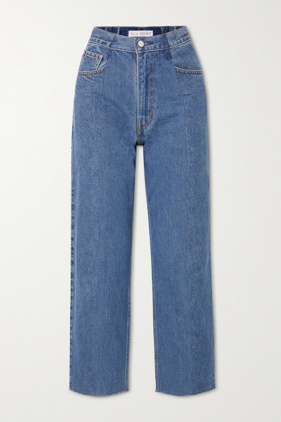 E.L.V. Denim The Boyfriend Frayed High-rise Wide-leg Jeans